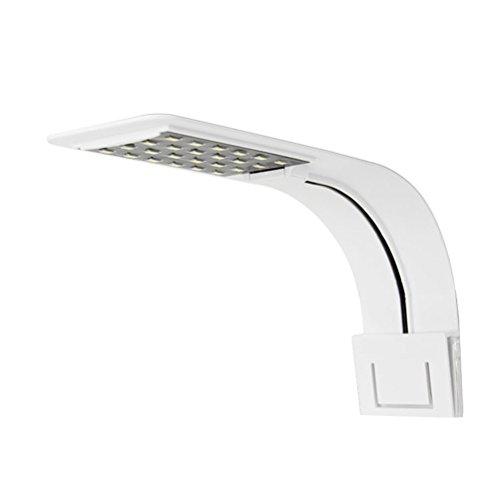 UEETEK Las plantas de luz de acuario Super Slim LED crecen la iluminación de la lámpara Clip-on creativo con enchufe de la UE (luz blanca)