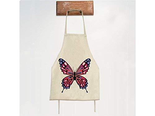 OIBHFO Home Haushalt Hanging Neck Schürze für Frau Classic Butterfly Sleeveless Schürze gedruckt Küche BBQ Butterfly Sleeveless