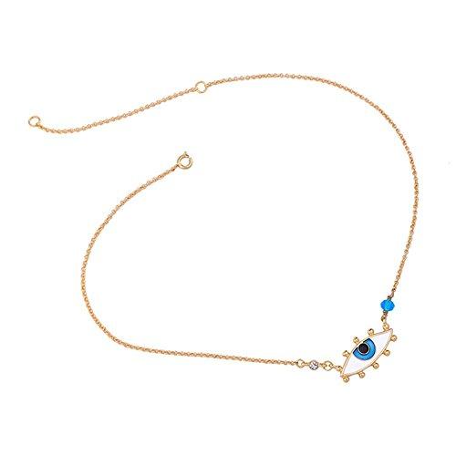 Z&HA Evil Eye Protection Halskette Charme Blau Handbemalt Emaille Glasur Anhänger Glücksgeschenk Für Frauen Mädchen Schlüsselbein Kette (Protection Halskette Eye Evil)