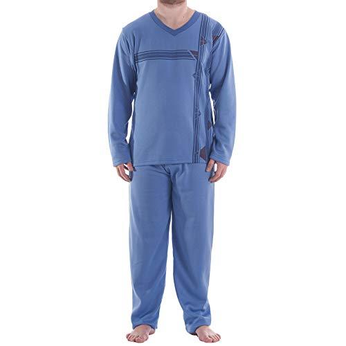 LUCKY Thermo Pyjama Herren V-Ausschnitt Schlafanzug Warm Winter, Farbe:blau, Größe:XL