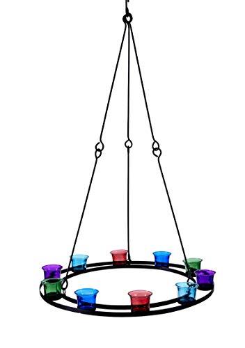 Teelichthalter/ Teelicht Kronleuchter (Farbigen Glas)