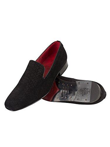 Jeffery West Homme Androme Snakeskin Shoes, Noir Noir