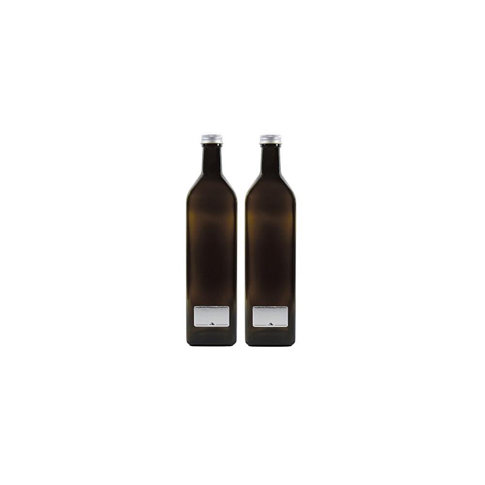 2 X Braune Glasflasche 1000ml Lflasche Inkl 2 Beschriftungsetiketten