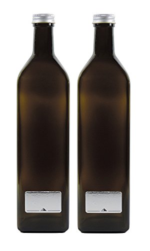 2x grün-braune Glasflasche 1000ml, Ölflasche inkl. 2 Beschriftungsetiketten
