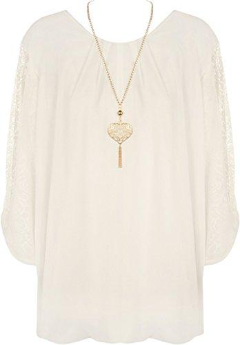 Blase Saum Bluse (WearAll - Damen Chiffon Spitze Hülle Halskette Blase Saum Damen Gefaltet Top - Creme - 44-46)