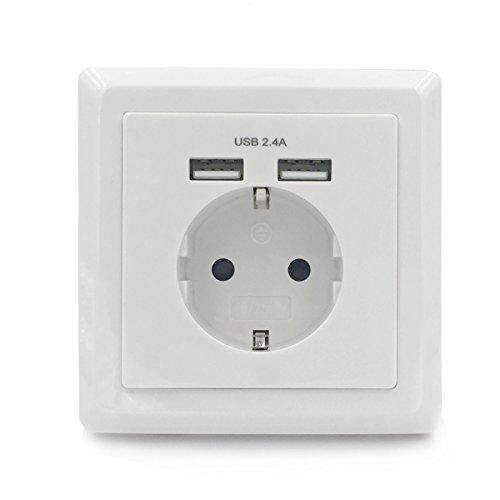 Jindia-Schuko-Unterputz-mit-2-USB-Anschluss-USB-Steckdose-Wei-Wandsteckdose