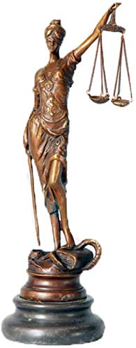 HXPBJ Decoracións Adornos Ornamenti  Lady Justice Statue 8 Inch Sculptures Goddess Lawyer Home Decor, Bronce