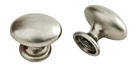 Bouton ovale en argent 40mm mat 29 x 40 - Stilmelange qualité en Europe depuis 1998