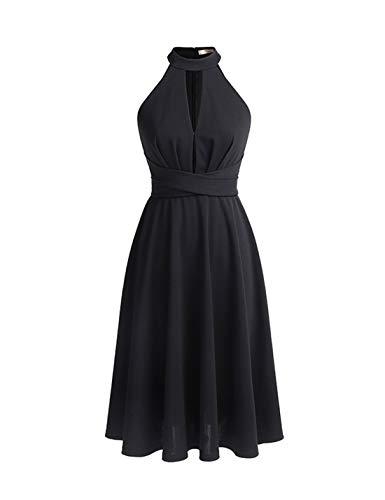 Tee Länge Gürtel Chiffon Abendkleid mit Schlüsselloch Schwarz Größe 18 ()