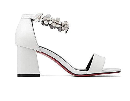 2017 nuovi sandali femminili di cuoio dei sandali di cuoio selvaggio dei sandali high-heeled open-toed del cuoio selvaggio 4