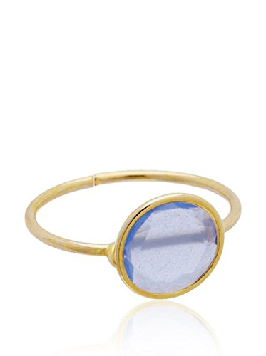 Córdoba Jewels | Anillo en Plata de Ley 925 bañada en Oro. Diseño Luna Llena Calcedonia Oro