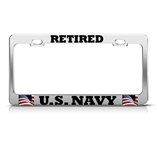Moon Retired USA Navy American Flag Nummernschild Rahmen Patriotische USA Tag Bordüre Perfekt für Männer Frauen Auto Garadge Decor