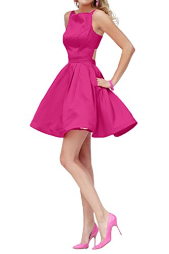 Promgirl House Damen 2016 Modisch A-Linie Satin Ballkleider Cocktail Party Abendkleider Kurz Pink