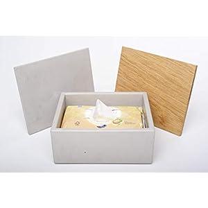 Gutmann-Design Box für feuchtes Toilettenpapier Feuchttücherbox Aufbewahrung Aufbewahrungsbox aus Beton und Eichenholz handgemacht in Deutschland