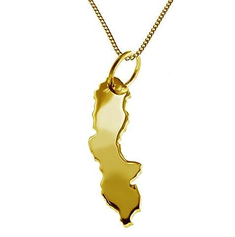 Hochwertige Halskette mit exklusivem Kettenanhänger in Form der SCHWEDEN Landkarte in massiv 585 Gelbgold, Made in Germany – extra für Sie aus 585 Gelbgold angefertigt, Panzerkette