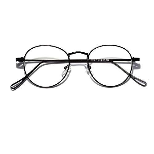 WULE-RYP Polarisierte Sonnenbrille mit UV-Schutz Mode Klassische Retro Runde optische Brille Nerd klare Gläser. Superleichtes Rahmen-Fischen, das Golf fährt (Farbe : Schwarz)