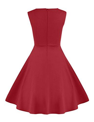 Surenow Robe de soirée rockabilly Style Rétro Plissé… Rouge