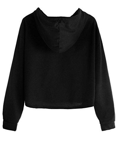 Minetom Donna Autunno Moda Felpe Con Cappuccio Maglie A Manica Lunga Felpa Crop Top Maglione Pullover Top Sweatershirt Nero