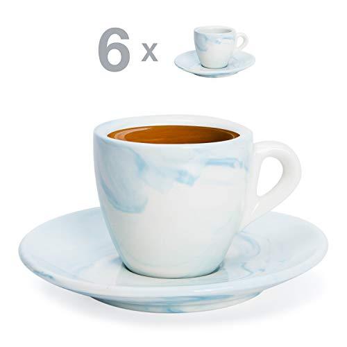 Hausmann & Söhne Espresso Tassen dickwandig   Set 12-TLG   6er Set Blaue Marmor Tassen mit...