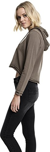 Urban Classics Damen Kapuzenpullover Ladies Cropped Terry Hoody Army Green