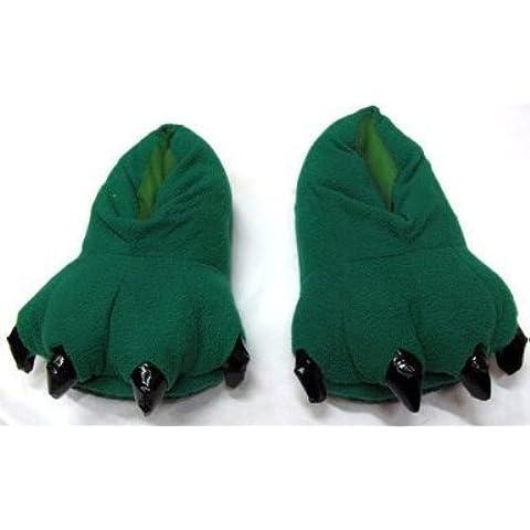 Dansuet Piedi simpatico dinosauro pantofole di cotone (verde), pistoni del cotone sveglio per gli uomini - Sveglio Del Dinosauro