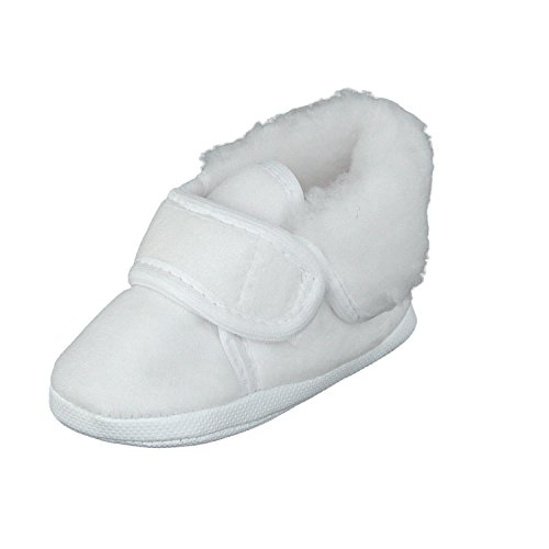 Gefütterte Babyschuhe Erstlingsschuhe Taufschuhe Kinderschuhe, Velours (Nicki), Klettverschluss, Gefüttert, Weiß, 20 EU  (Herstellergröße: 13)