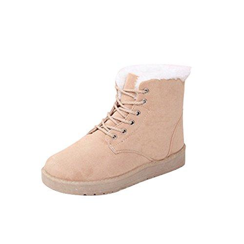 Stiefel Damen Julywe Damen Mode Stiefel Flache Ankle Lace up Pelz Gefüttert Winter Warme Schneeschuhe