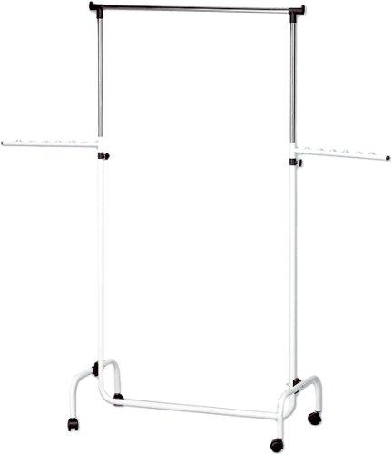 WENKO 4383010100 Kleiderständer Trio mit 2 Armen, Schwenkarme, fahrbar, höhenverstellbar, verchromtes Metall, 91 x 122-192 x 45 cm, Chrom