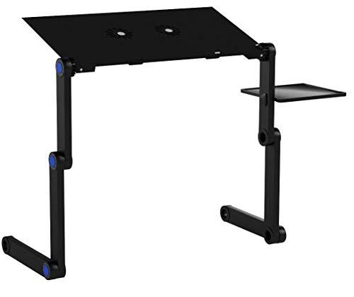 LONGKO Table de Lit pour PC Ordinateur Portable Inclinable avec 2 Ventilateur de Refroidissement et Plateau de Souris(47cm x26cm)