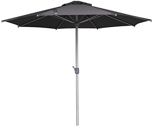 SORARA Apple Parasol de Jardin Rond 3M manivelle | Gris | Poteau 48 mm | Aluminium Inoxydable