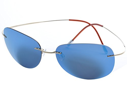 DEDING Herren Titan Randlose polarisierte Sonnenbrillen (blaue Linsen)