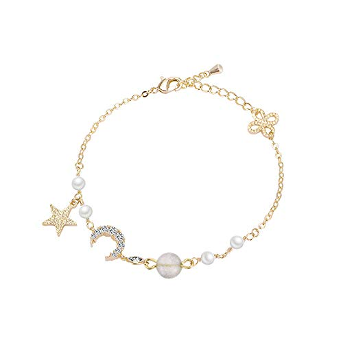 Armband Aus 925Er Silber,Gold Korea Einfache Pearl'S Armband Frauen Flash Stein Acryl Armband Sen Student Sterne Mond Zirkon Handarbeit Girl's Geschenk Zum Valentinstag (Pearl-kreuz-armband)