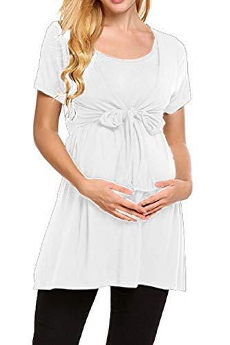 YACUN Damen T Shirts Kurze Ärmel Schwangerschaft Bluse weiße XL