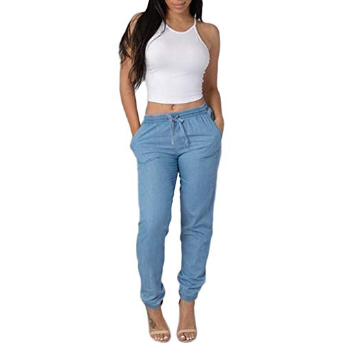 Xmiral Damen Hosen Elegant High Waist Stretch Jeans Lässige Blaue Jeanshosen (M,Blau) - Fleece-volleyball-stoff