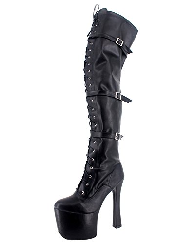 Wonderheel chunky high heel matt over knee stiefel buckles platform thigh high boots (Boots Heel High Chunky Knee)