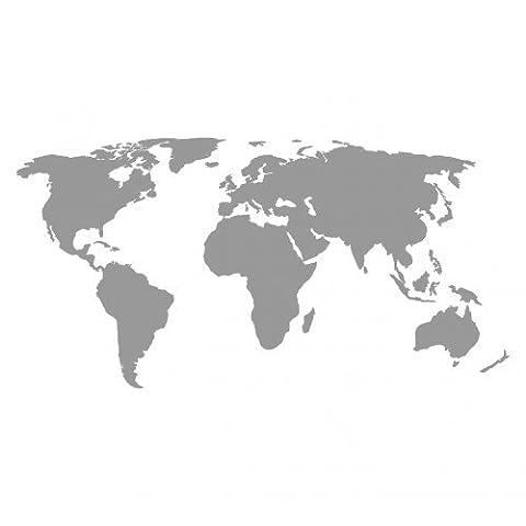 Weltkarte Aufkleber in 5 Größen und 25 Farben (30x15cm grau)