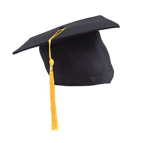 BESTOYARD Gelb Graduation Quaste Cap Einstellbare Studenten Doktor Hut Hat Bachelor Hut für Erwachsene Kinder Abschlussfeier Gefälligkeiten (Schwarz + Gelb) -