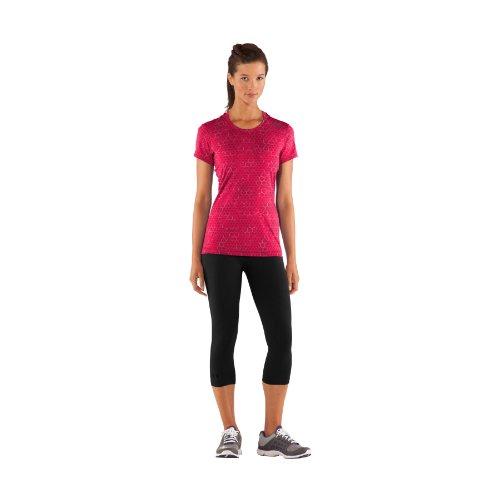 Under Armour Damen T-Shirt Sonic Printed Short Sleeve, rot, L (Heatgear Sleeveless T-shirt)