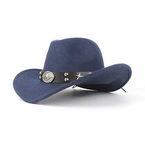 Filzhüte Caps & Kopfbedeckungen Western Cowboyhut Unisex für Gentleman Dad Cowboyhut Pentagram Hombre Hat Pate Hat Größe 56-58CM Für Kostüm Kostüme Zubehör ( Farbe : Navy blue , Größe : 56-59cm ) - Pate Uhr