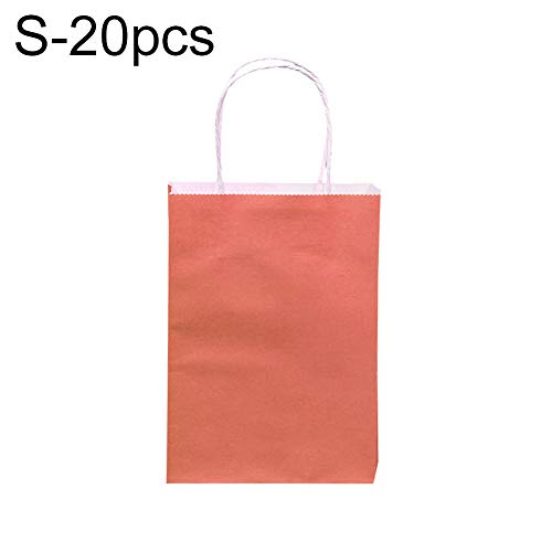sal008ly7far 20Pcs Candy Color Paper Bags with Handle for Wedding Party Present Birthday Gift Bag Pink S