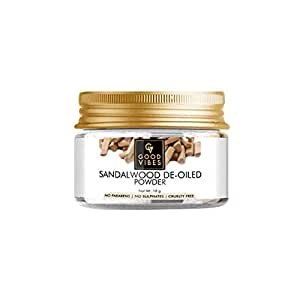 Good Vibes Sandalwood De-Oiled Wood Powder Face Pack - 18 g - Skin Exfoliation for Acne, Ageing and Tan, Sun Protection - Cruelty Free
