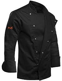strongAnt® - Kochjacke Langarm Herren mit verdeckten Druckknöpfen Bäckerjacke Schwarz - Slim Style, Slimfit - Made in EU | Größenvielfalt S bis 2XL - Kermen