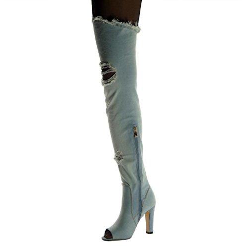 Angkorly Scarpe Moda Stivali Alti Ginocchio Stivali - Scarponi Flessibile Peep-Toe Stile Vintage Donna Strappati sfilacciato Tacco a Blocco Alto 10.5 cm Azzurro