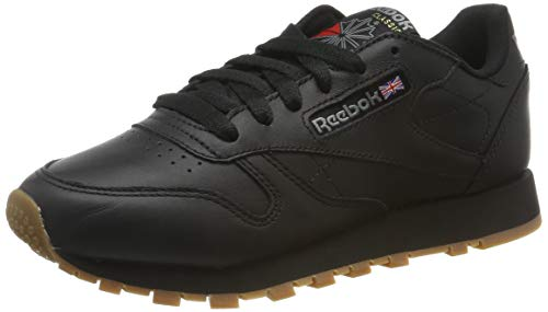 Reebok Damen Classic Leather Sneaker, Schwarz (Black/Gum), 39 EU - Reebok-damen-cl