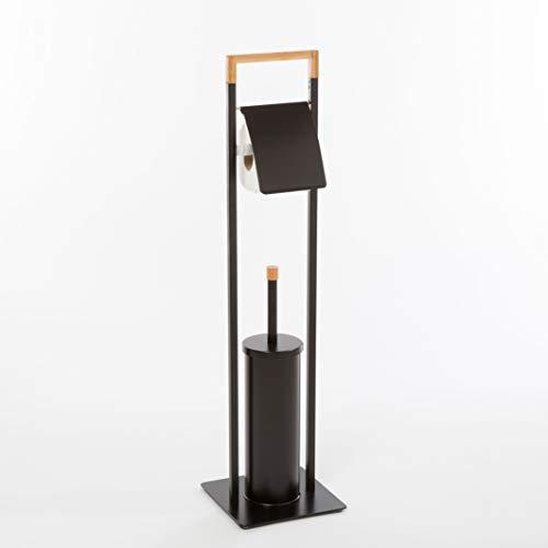 Spirella Bad Serie CHIC Stand WC Garnitur aus Edelstahl mit Herausnehmbaren Innenbehälter für die WC Bürste Schwarz Bambus