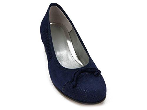 Linea con Ballerina Decollete Comfort Blu Pelle PERICOLI Estivo Tacco in Fiocchetto OSVALDO 5025 3cm RpZxgwnZA