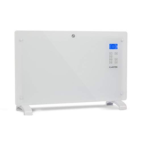 Klarstein Norderney Konvektions-Heizgerät Konvektionsheizung Glaskonvektor Elektroheizer (15-35°C, intelligentes Thermostat, 1.000/2.000 Watt, Touch) weiß