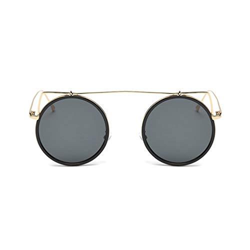 Idyandyans Frauen-Runde Framed Sonnenbrillen Damen-Metall Versatile Brillen Eyewear Retro Style Street UV400