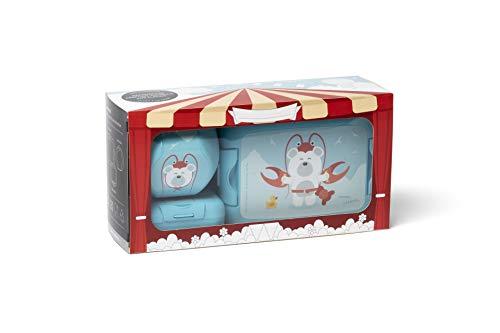 Amuse 3-teiliges Lunchbox Geschenk-Set Karneval der Tiere, mit Klick-Verschluss, Eisbär