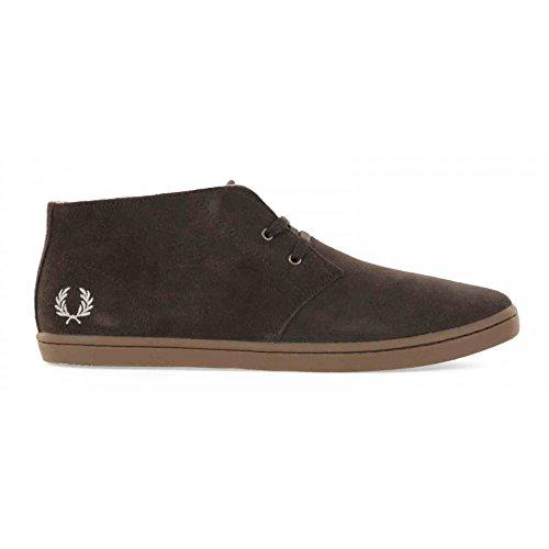Fred Perry Byron Mid. B7400. Suede Marron y Marino. Zapatos de Cordones Oxford Para Hombre. (43 EU, Dark Chocolate) (Cordones Para Zapatos)
